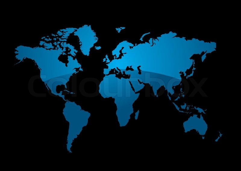 world map on a black background with a modern blue gradient stock vector colourbox