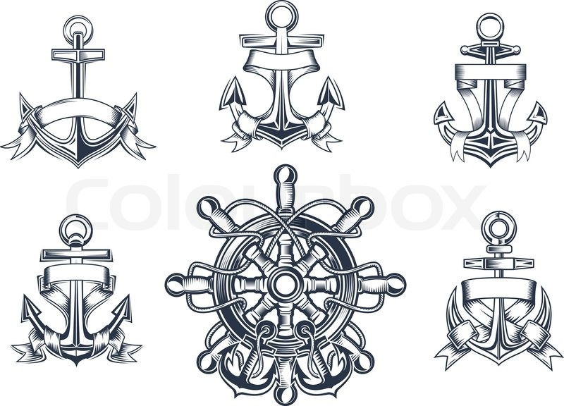 Vintage Marine And Nautical Icons With Ships Anchors With Blank
