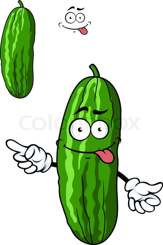 Green cartoon cucumber vegetable character with a goofy ...