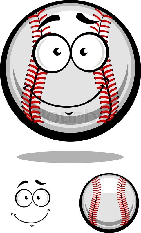 smiling cartoon baseball ball with red stitching and googly eyes