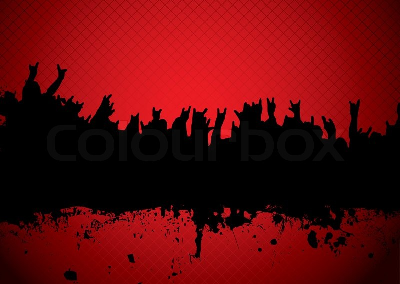 Red and black silhouette of a rock concert crowd | Stock ...