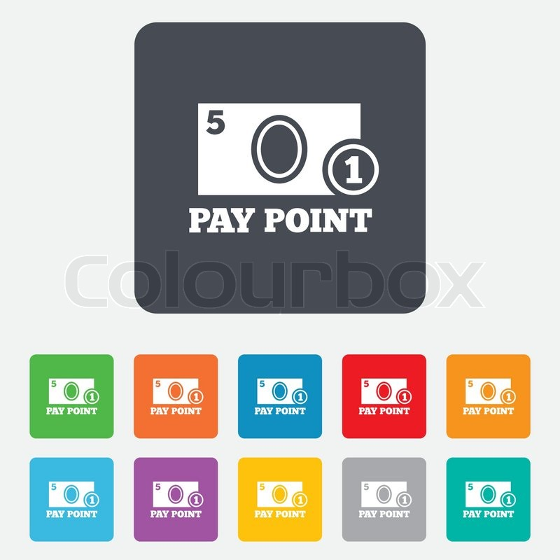Cash and coin sign icon  Pay point     | Stock vector | Colourbox