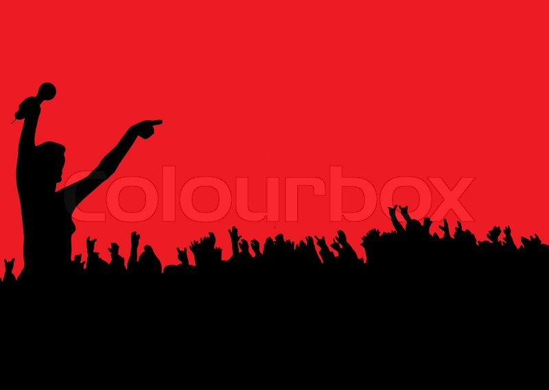 Female leading the crowd at a rock concert on a red ...