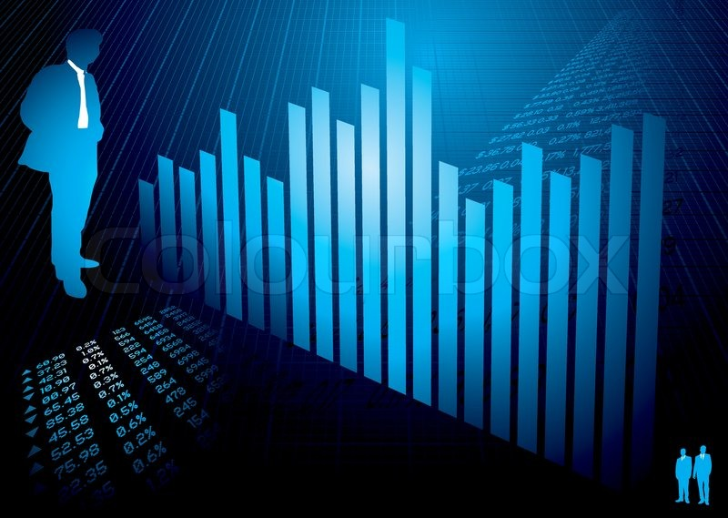 business background in blue with financial figures and graph stock