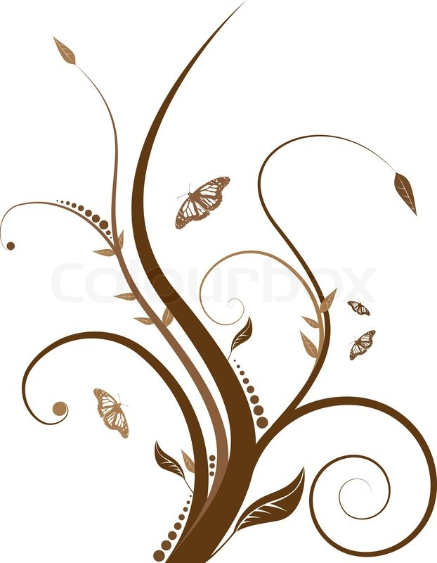 abstract floral design with flowing line in shades of brown stock
