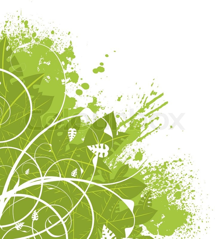 Abstract green floral design ideal as a background corner ...