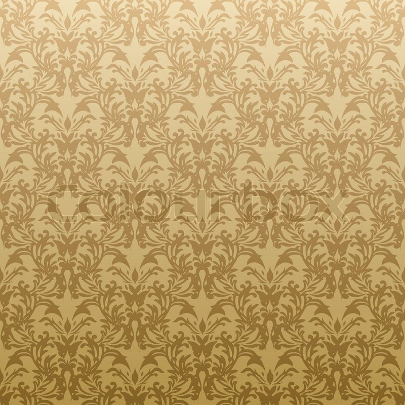 Floral inspired gothic repeat wallpaper design in gold for Gold wallpaper designs