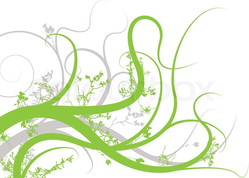 Floral Inspired Background Image In Green And Gray Stock Vector