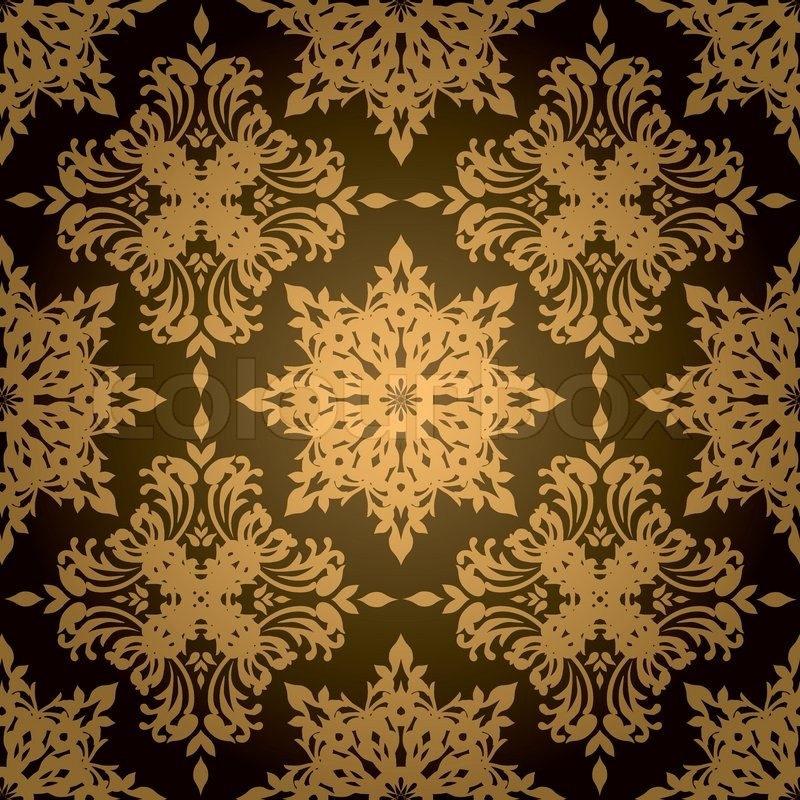Gold And Black Gothic Style Wallpaper Design That Repeats