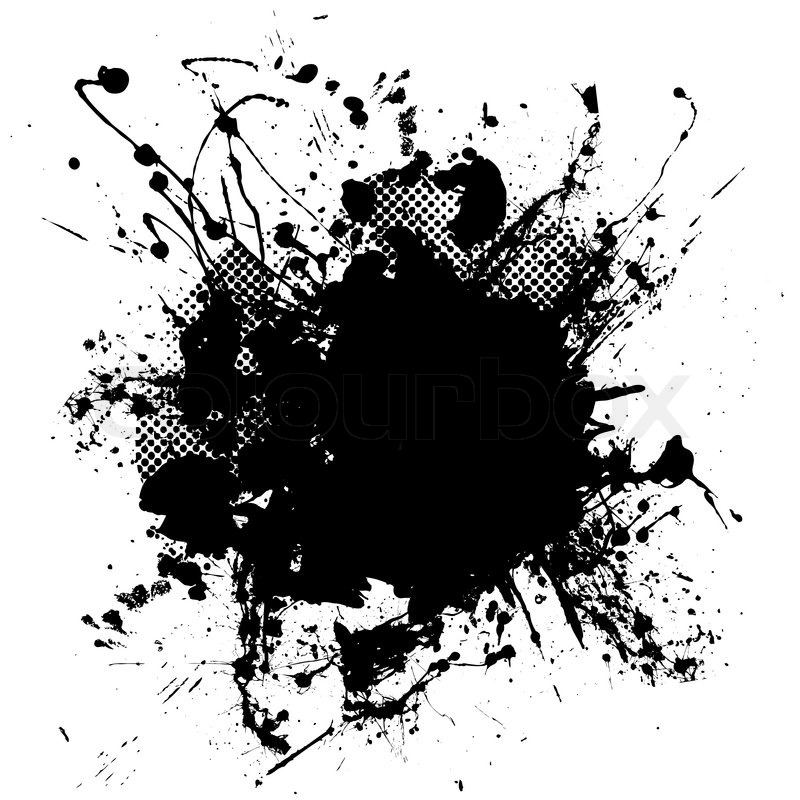 Abstract black and white ink splodge that is editable vector colourbox
