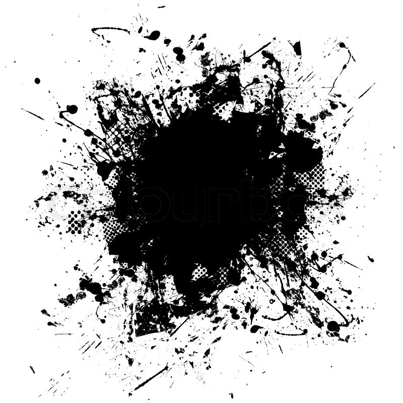 Black and white ink splat design with half tone pattern