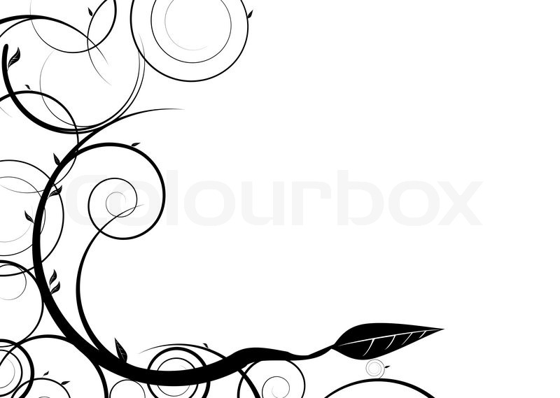 Black and white floral design with copy space stock for Copy design