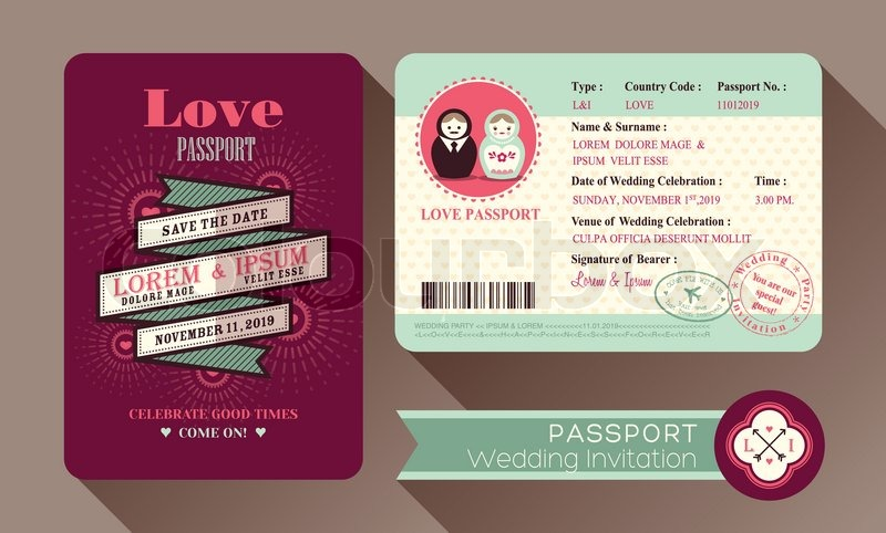 Retro visa passport wedding invitation card design stock vector retro visa passport wedding invitation card design stock vector colourbox stopboris Gallery