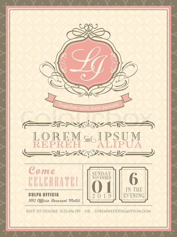 Vintage pastel Wedding Invitation card background template vector ...