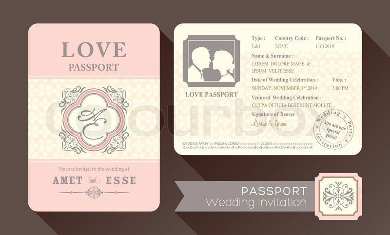 Vintage visa passport wedding invitation card design for Passport wedding program template