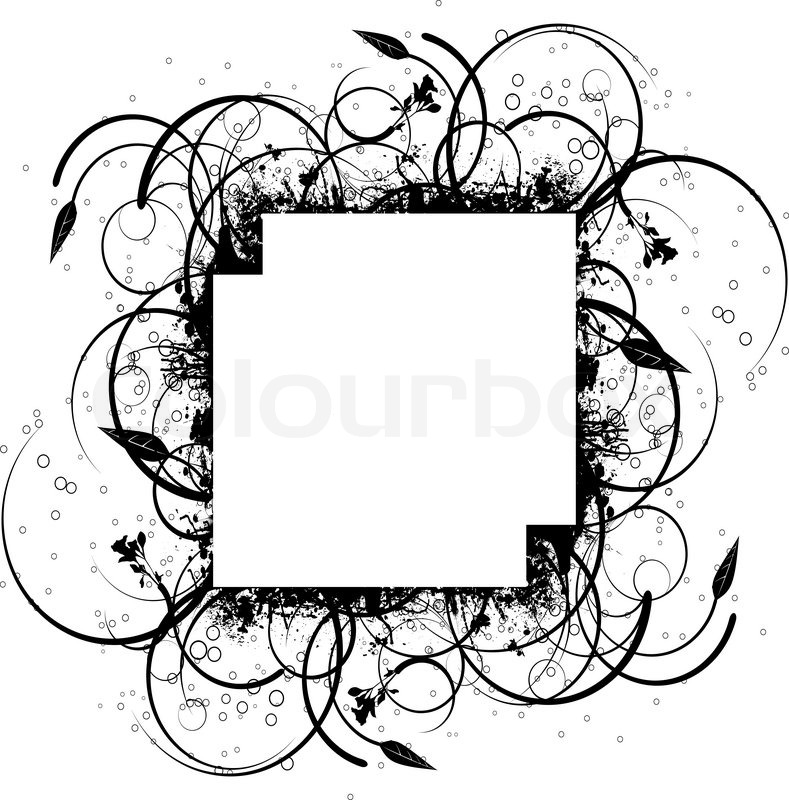 Abstract Floral Ink Splat Border Design In Black And White