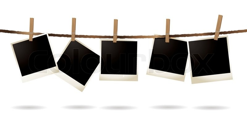 Collection of blank images hanging on a piece of string for Template for hanging pictures