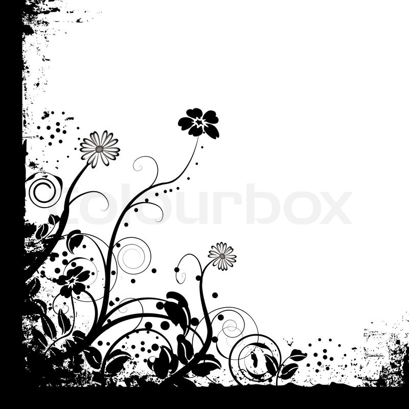 floral black and white mono background design with copy