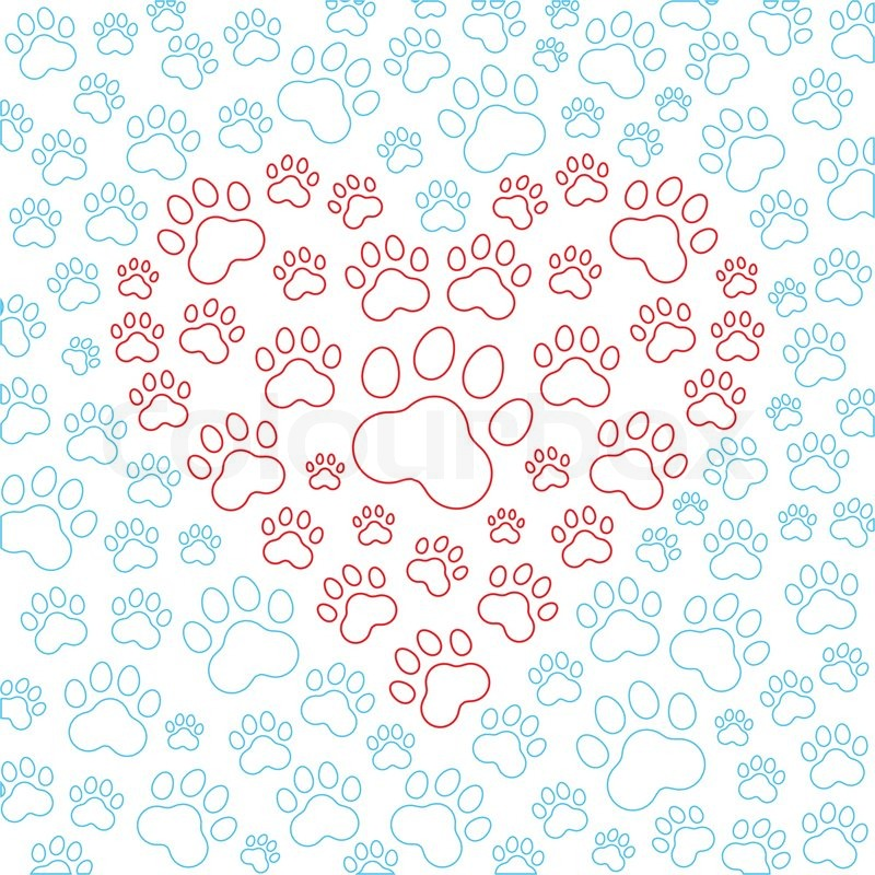 Heart with dog or cat paws background. Vector illustration ...