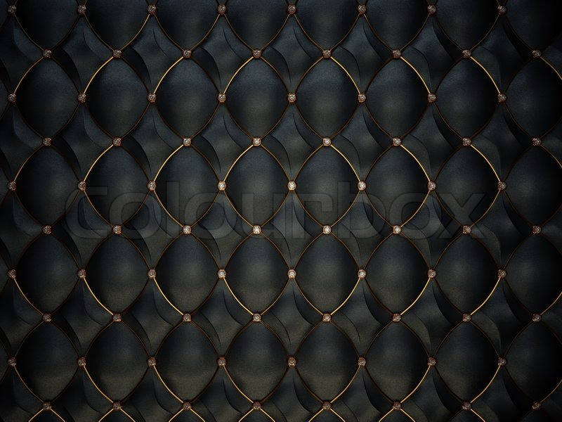 Black Leather Pattern With Golden Wire And Diamonds