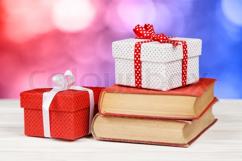 Books and gift boxes, stock photo