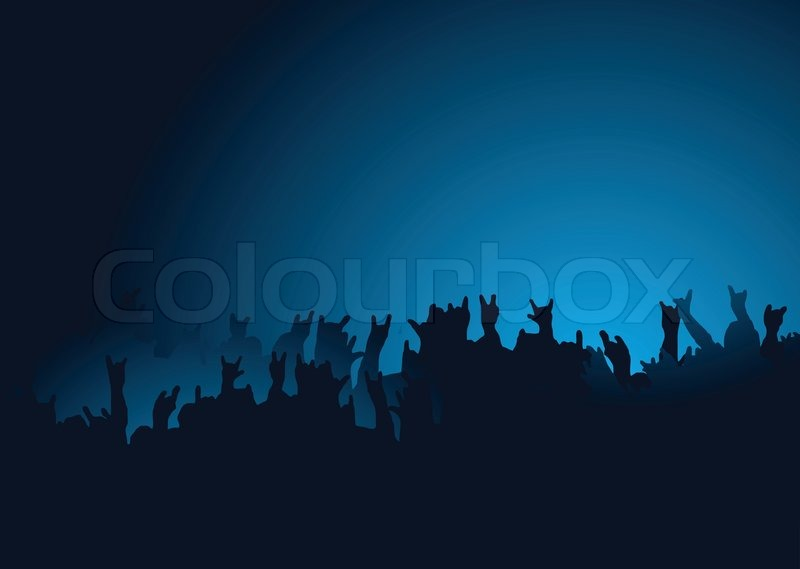 Hands raised at a rock concert with the crown back lit in ...
