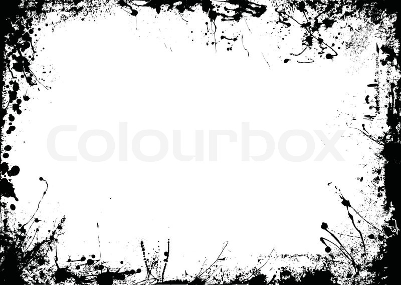 Abstract Black And White Ink Border Stock Vector