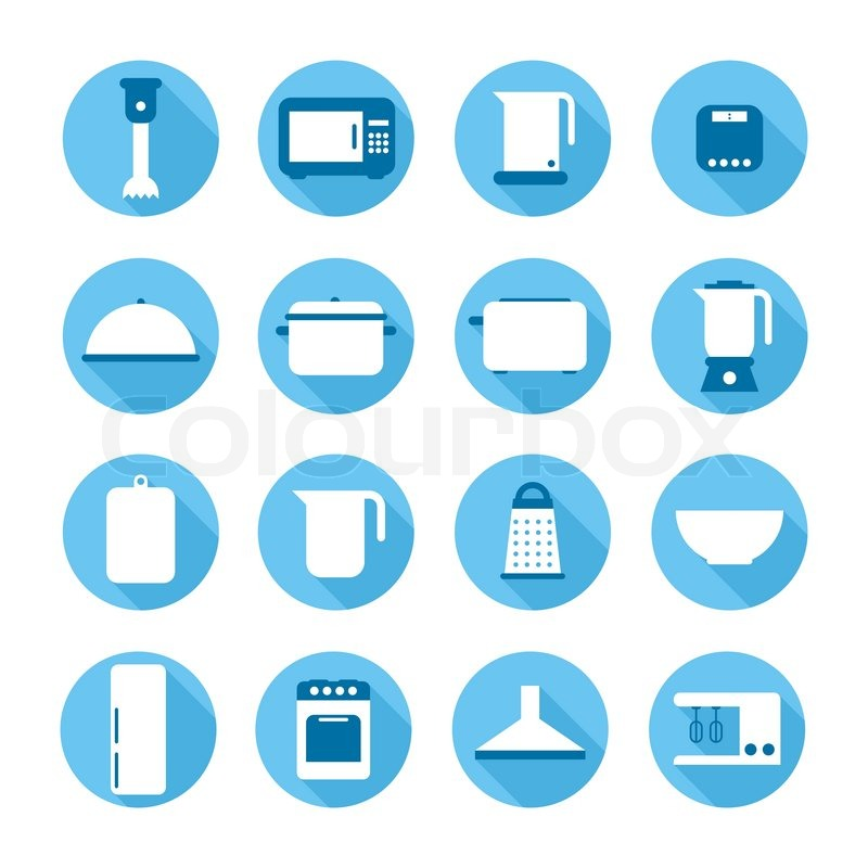 Set Of Kitchen Appliances And Tools Web Iconssymbolsign In Flat