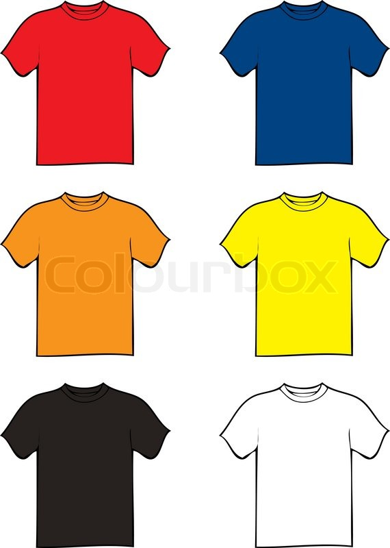 Collection of six tshirts in different colours with a ...