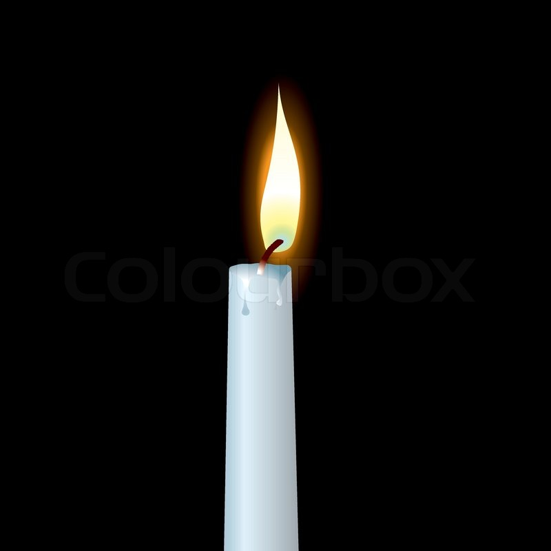 White Candle With Wax Dribble And Buring Flame Stock