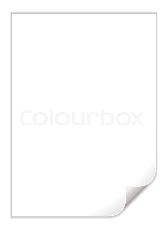 Single Piece Of White Paper With A Corner Curl  Stock Vector
