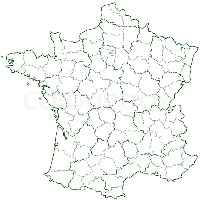 France Map With Regions.Contour Region And Department Map Of Stock Vector Colourbox