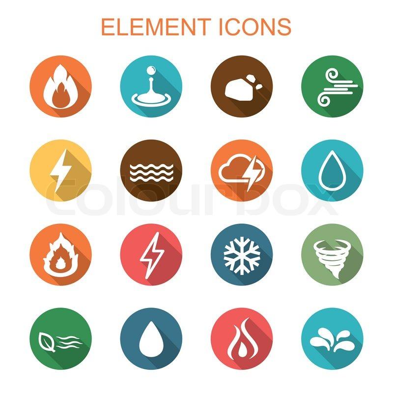Element Long Shadow Icons Flat Vector Symbols Stock Vector