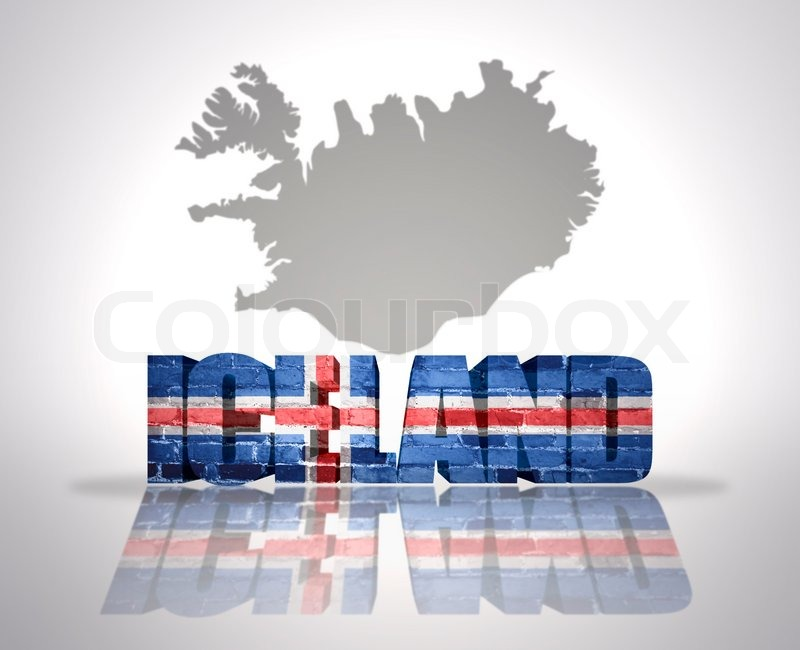 Word Iceland With National Flag Near Map Of Iceland