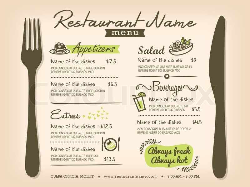 Restaurant placemat menu design stock vector colourbox