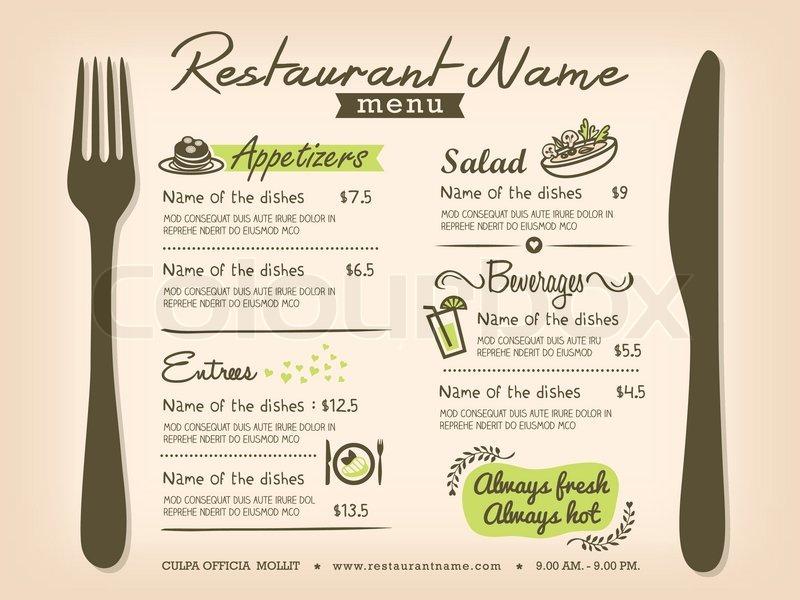 Restaurant placemat menu design template layout stock