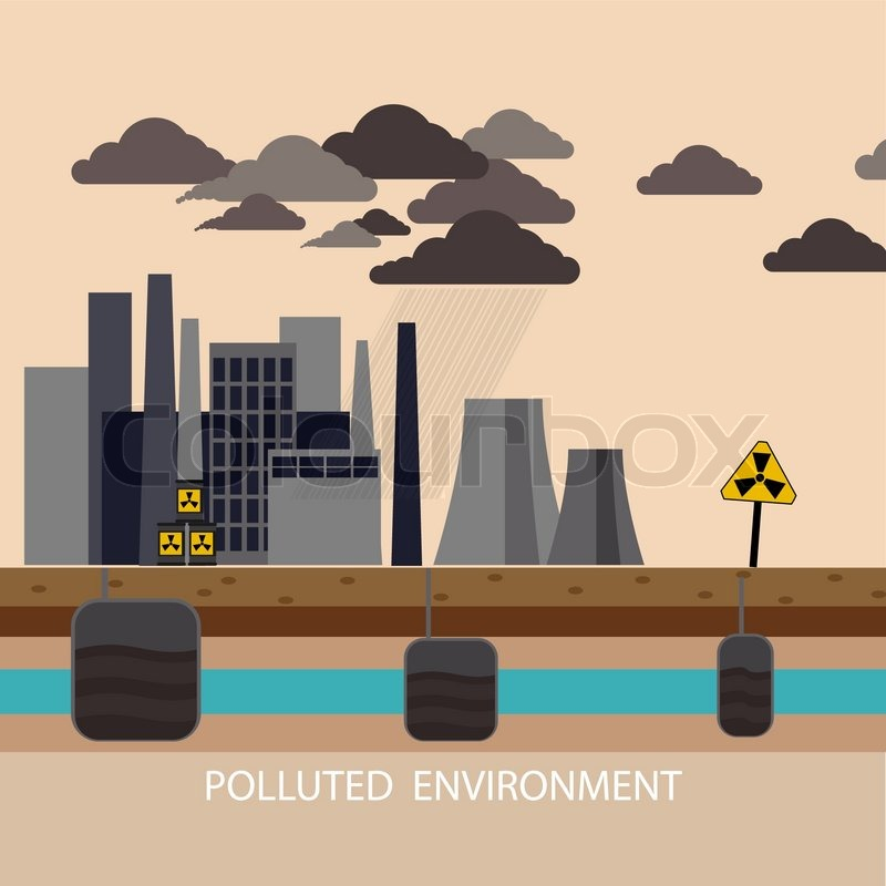 Power plant smokestacks emitting smoke over urban ...