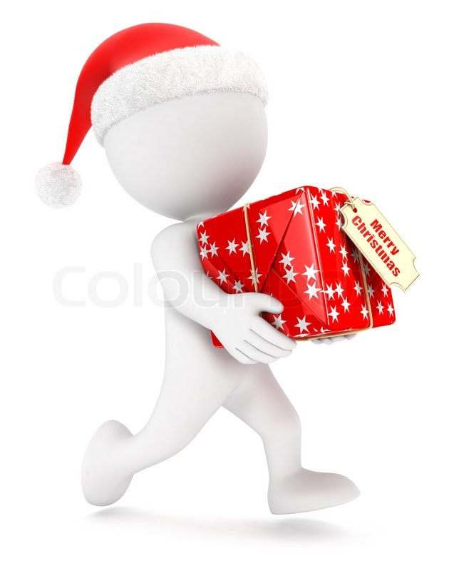 3d White People Christmas Express Delivery Isolated White
