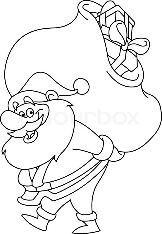 outlined santa claus carrying a big gifts sack on his back vector illustration coloring page stock vector colourbox