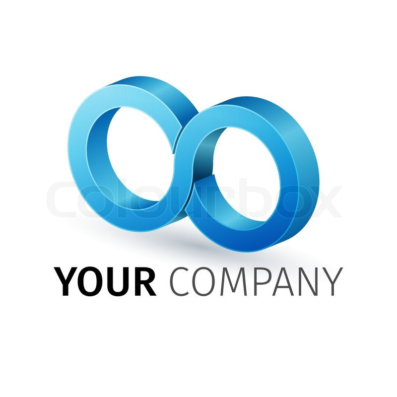 Colorful 3d Infinity Symbol Conceptual Icon Logo Template Stock