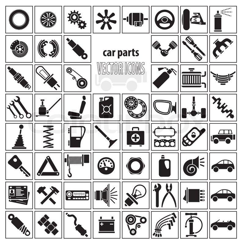 Car Parts Tools And Accessories Set Stock Vector Colourbox