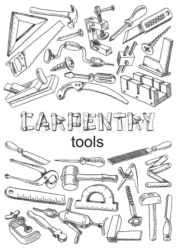 Set of tools for carpentry work. Images in the freehand drawing ...