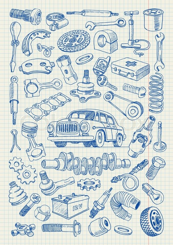 Car parts in freehand drawing style. Set of vector illustrations on ...