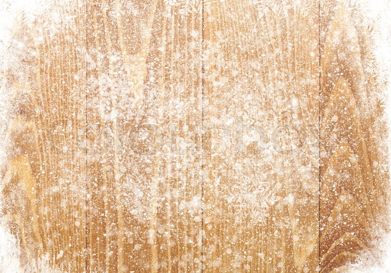 Old Wood Texture With Snow Christmas Background Stock