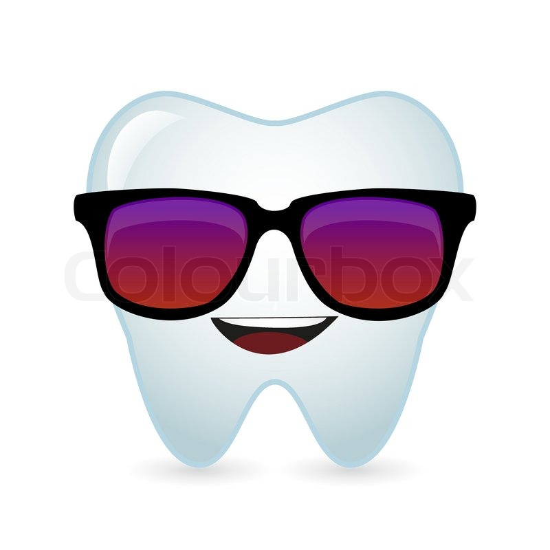 illustration of a cute tooth avatar wearing glasses stock vector