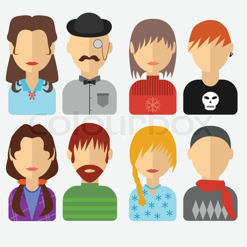 Set Of People Icons In Flat Style With Faces Vector Women