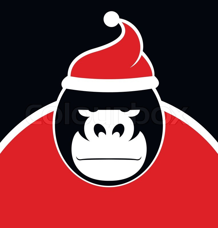 Gorilla Wearing Santa Hat - An angry gorilla wearing a ...