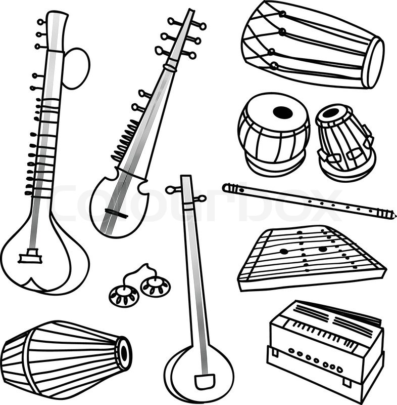 rhythm instrument coloring pages - photo#25