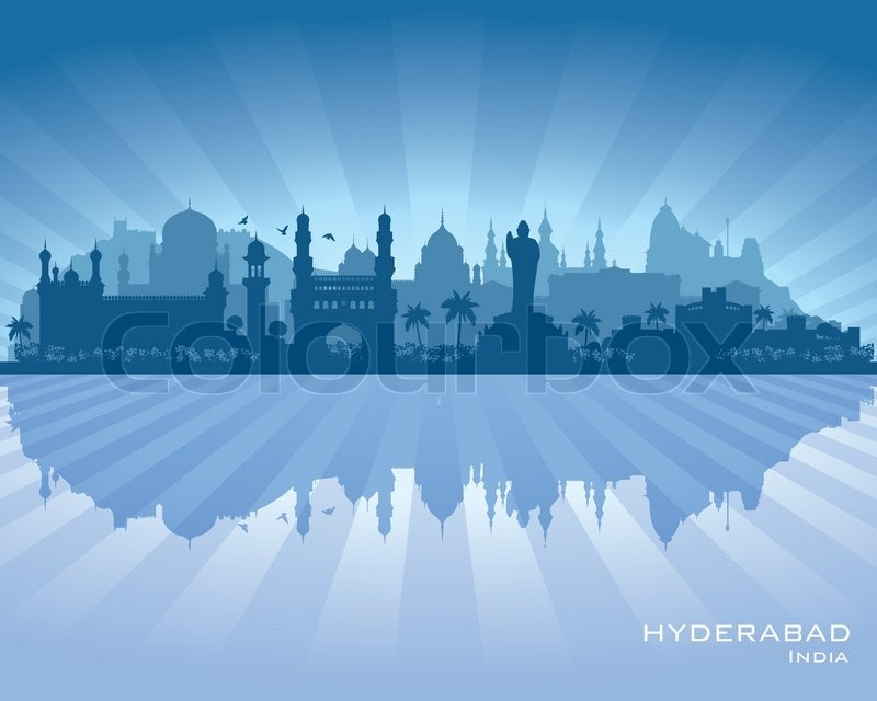 Hyderabad India City Skyline Vector Silhouette
