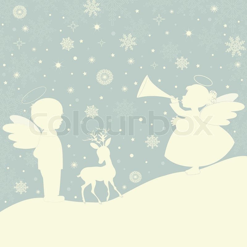 Angels Christmas Background.Christmas Background With Angels And Stock Vector